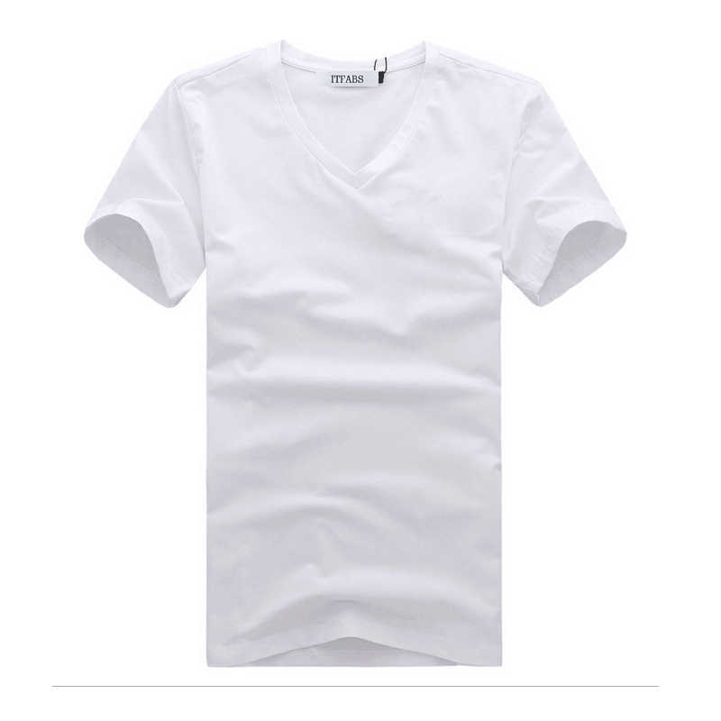 ITFABS מותג החדש חם מגניב הגברים V צוואר כותנה פשוטה בגדים בצבע אחיד חולצה Slim Fit שרוול קצר מזדמן רחוב טי