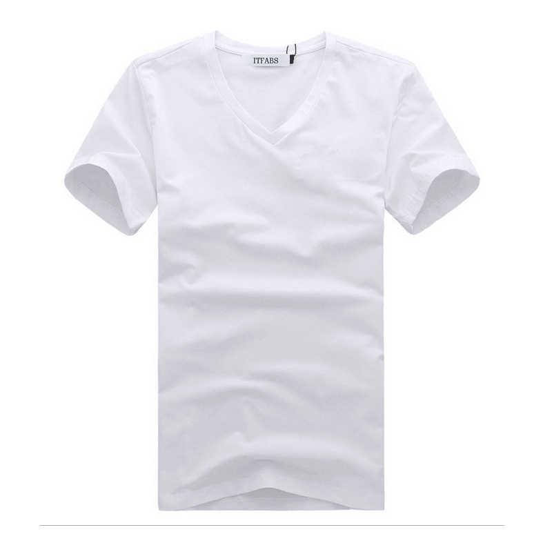 ITFABS 새로운 브랜드 핫 쿨 남자 브이 넥 간단한 코튼 티셔츠 슬림 피트 반소매 솔리드 컬러 옷 스트리트 캐주얼 티