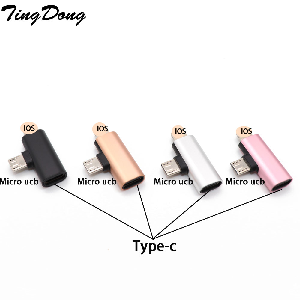USB C Type-c Female To 8Pin + Micro Usb Male Adapter USB Cable Converter Charging Connector For IPhone 8 7 6 6S  Plus X IOS
