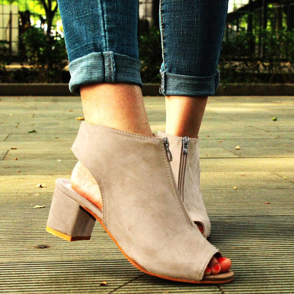 Wedge Sandals Shoes Platform High-Heel Spring Zipper Women Fish-Mouth Casual Solid Suede