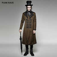 PUNK RAVE Men's Steampunk Classical Stripes Overcoat Club Party Christmas Halloween Luxury Suits Woven Long Jacket Trench Men