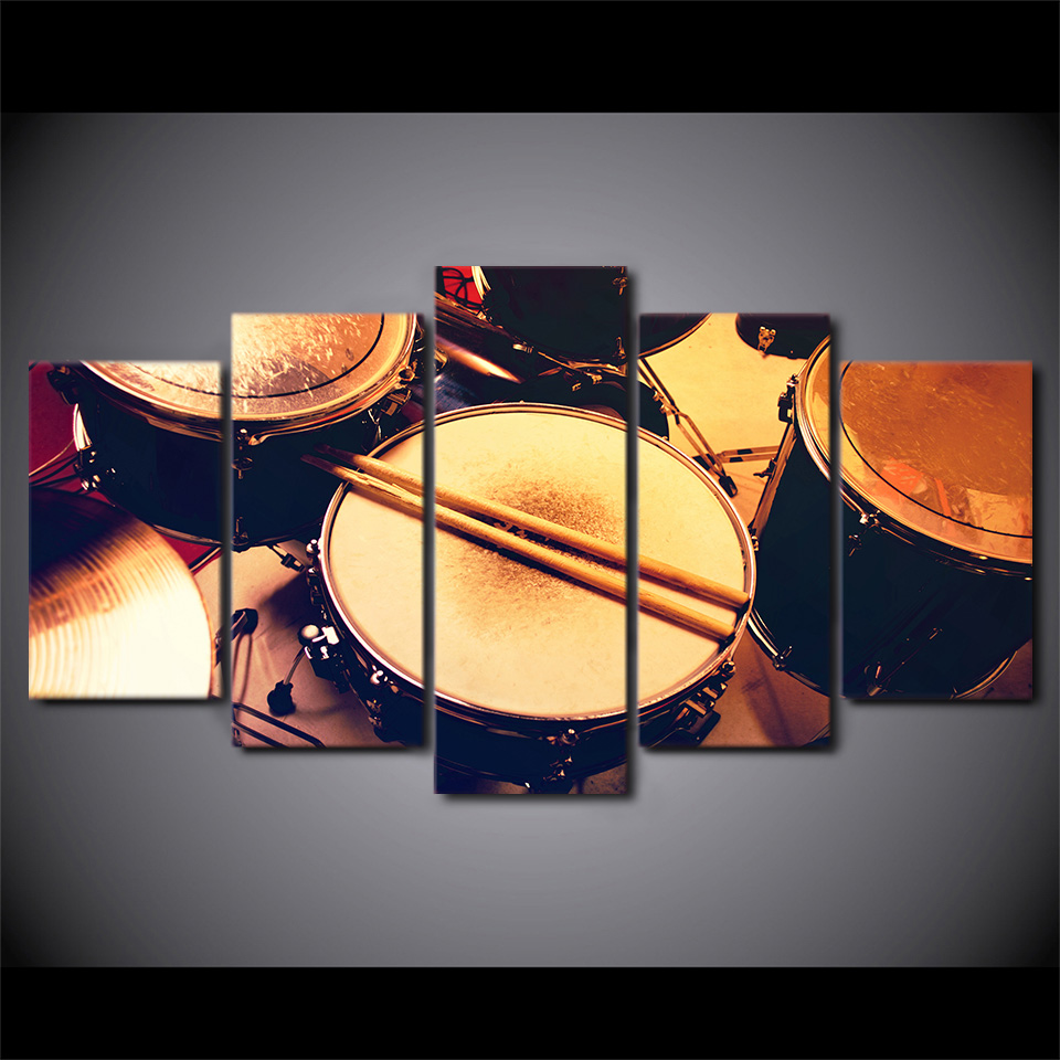 HD printed 5 piece canvas art drum set music instrument painting ...