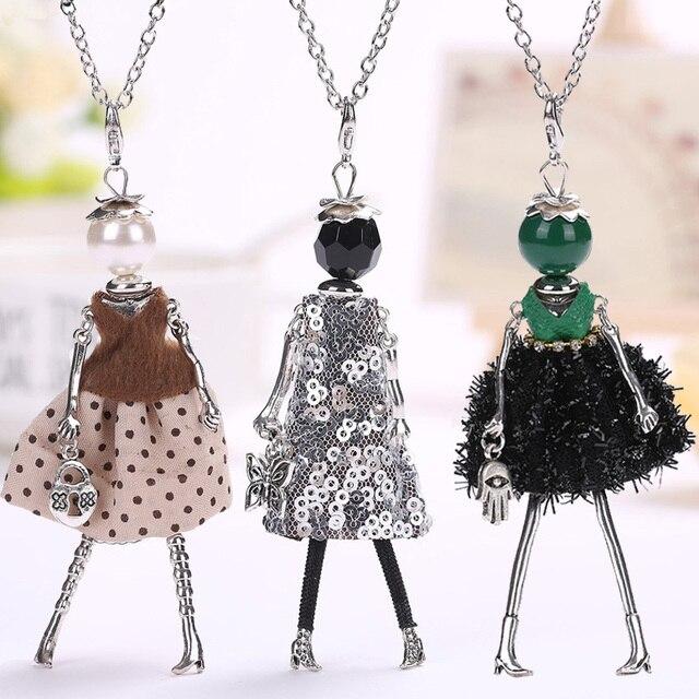 YLWHJJ mới phụ nữ búp bê dễ thương màu đen dài dây chuyền & mặt dây nóng váy bé cô gái maxi vòng cổ thương hiệu tuyên bố thời trang đồ trang sức