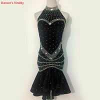 Custom Made Diamond Latin Dance Dress Salsa Tango Ballroom Competition Dance Dress For Women Show Practice Costume