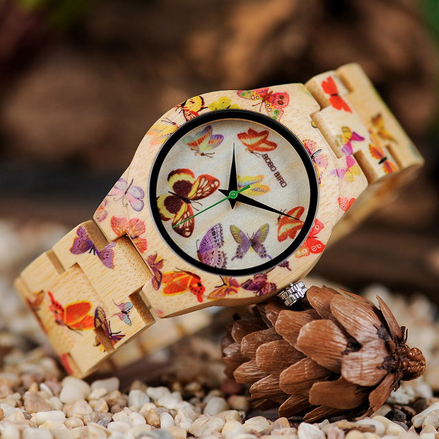 Reloj madera mariposas con caja de madera 1