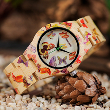 BOBO BIRD Ladies Wood Watch Painting Butterfly Quartz