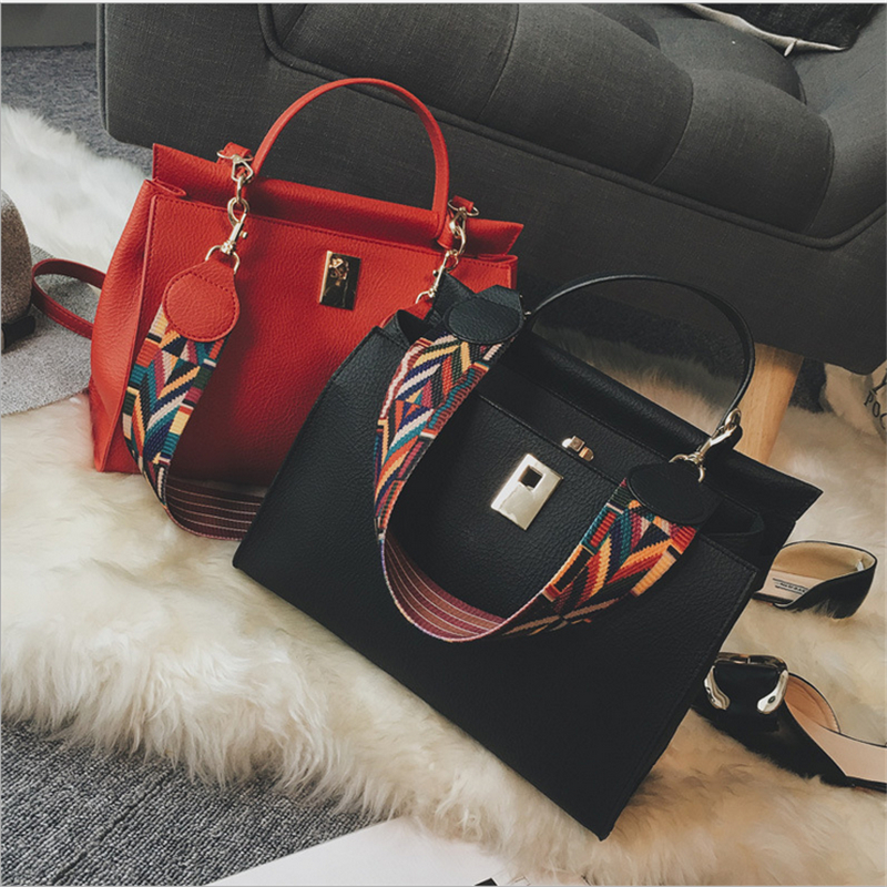 2017 Women Bags black Women Messenger Bags fashion Women Leather Handbags Trapeze Color straps Shoulder Bags Bolsa Feminina 814