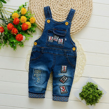 DIIMUU Infant Toddler Baby Clothing Boys Denim Overalls Romper Pants Letter Print Casual Jumpsuits Long Sleeve Jeans Trousers