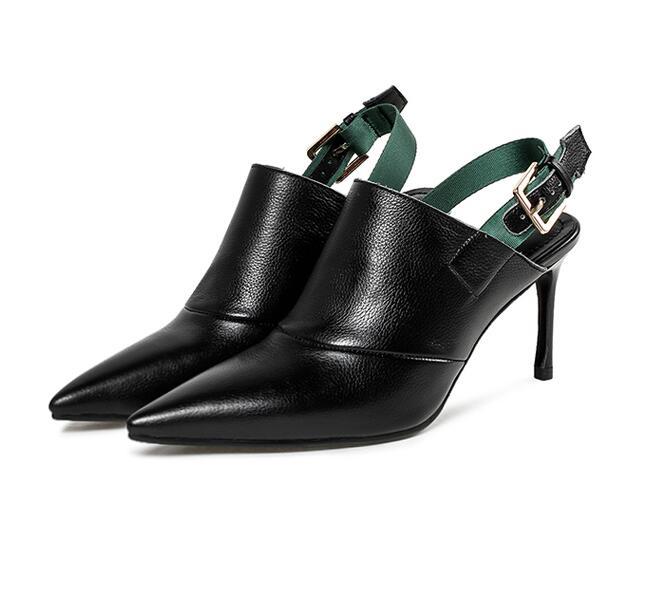 Chaussures Nouvelle En À Véritable Hauts Glissent Sexy Femmes Bureau Cuir Mode Dames Sur Pointu 2018 Talons noir Les De Beige Pompes Bout tpOqw7