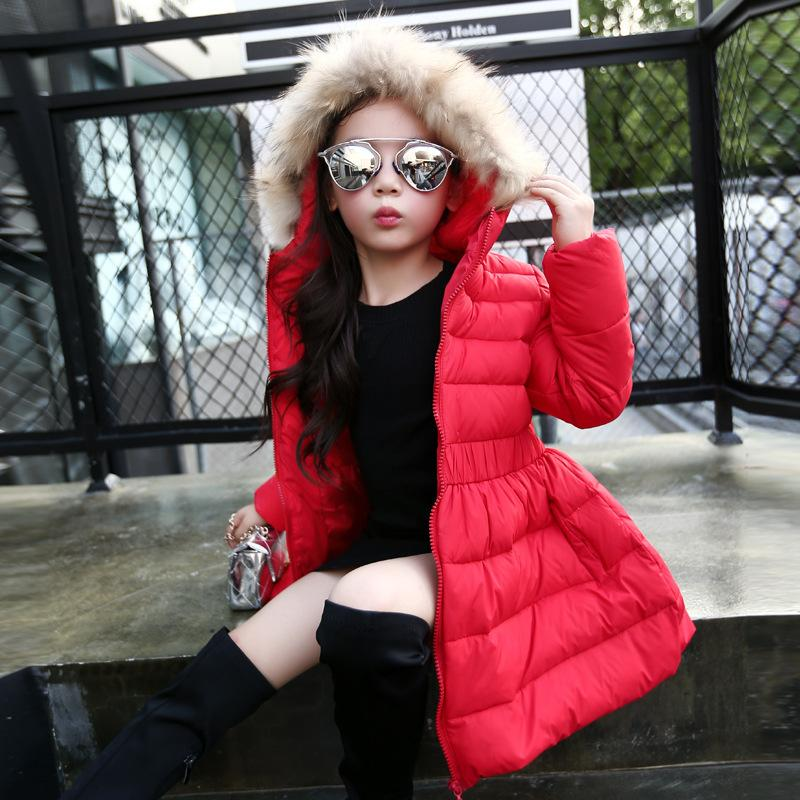 2018 spring autumn and winter new girls in the long fur collar hooded pompon children down jacket winter new down jacket women 2017 oversized luxury fur collar thicker coat in the long section of 20 30 40 years old