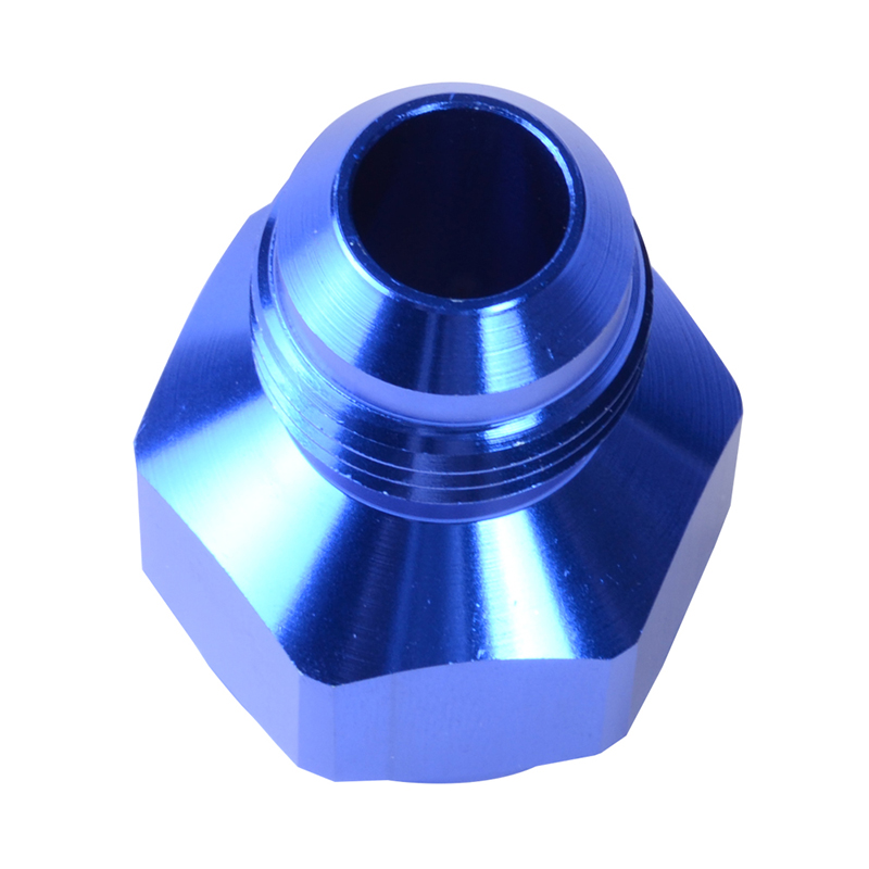 An aluminum fuel fitting adapter substitute oil gas