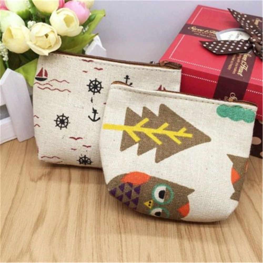 1PC porte-clés pièce pour femme petit sac à main en toile rétro nouveau Mini sac Style Simple portefeuille à fermeture éclair porte-monnaie livraison gratuite
