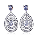 DC1989 Women Pierced Drop Earrings Rhodium or Gold Plated Prong Setting Synthetic Cubic Zirconia Holiday Party Jewelry Gift