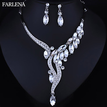 hot deal buy farlena wedding jewelry fashion crystal rhinestones  necklace earrings set for women wedding party  bridal jewelry sets