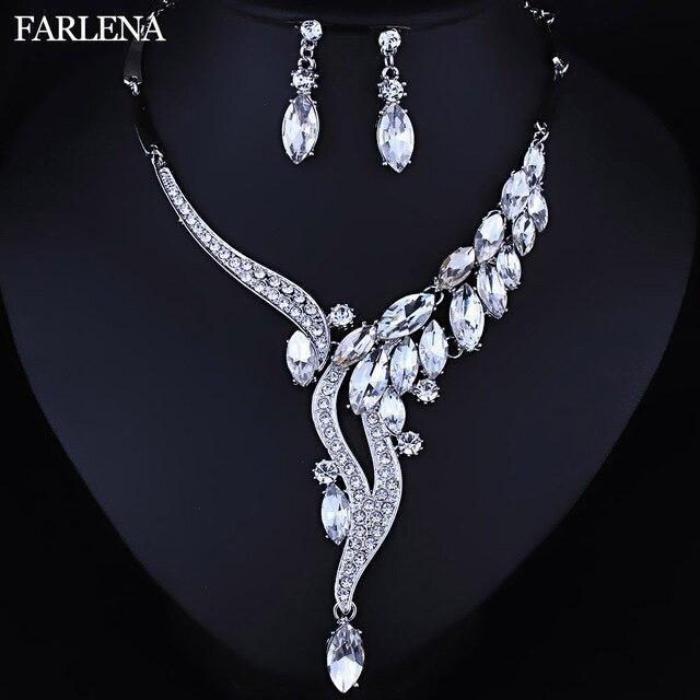 FARLENA Wedding Jewelry Fashion Crystal Rhinestones Necklace Earrings set for Wo