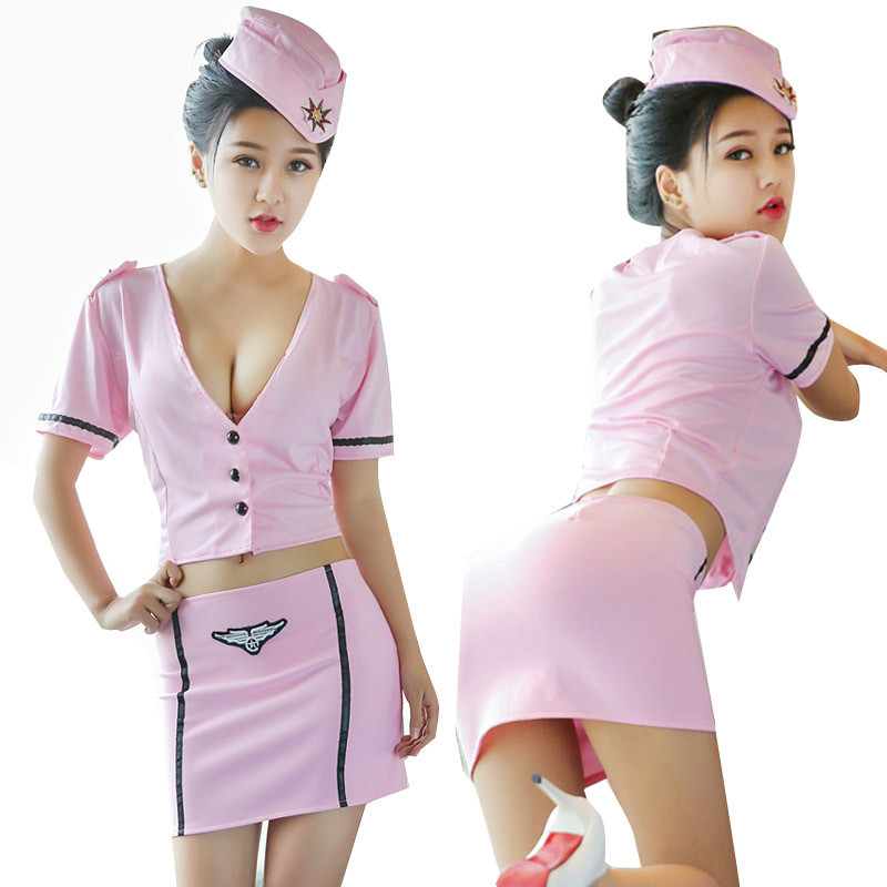 Hot sexy cosplay costumes sex game play airline hostess uniform pink temptation suit sexy costume for women