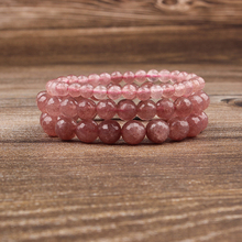 Lingxiang  Strawberry crystal pink bead bracelet is suitable for men and women to wear elastic beads jewelry fashion trend highlight women s fashion shoes strong is not easy to wear suitable for girls to wear shoes in formal places low price for sale
