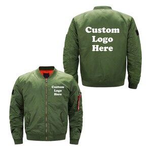 Image 3 - 미국 크기 사용자 정의 로고 디자인 남자 비행 자 켓 diy 인쇄 지퍼 코트 thicken jacket unisex outerwear
