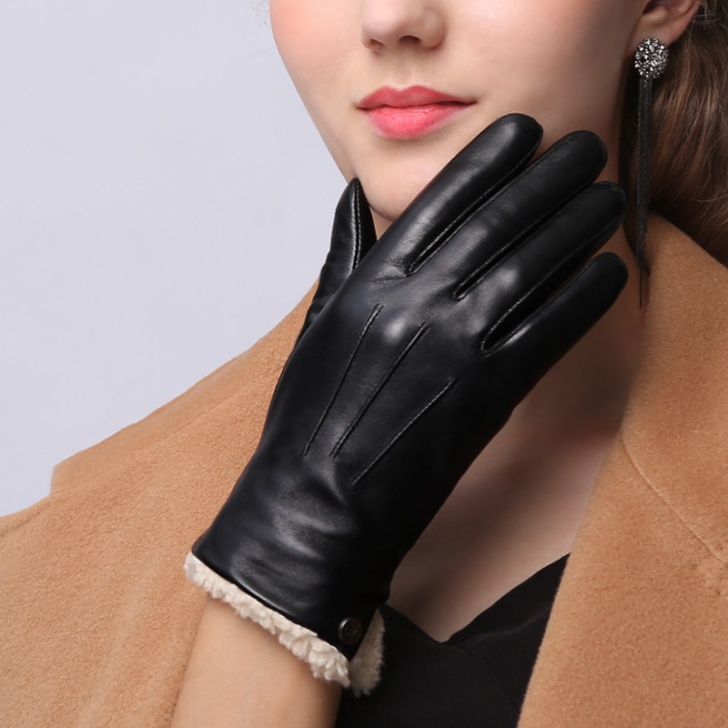 High Quality Genuien Leather Women's Gloves Autumn Winter Thermal Plus Velvet Fashion Simple Sheepskin Gloves Female NW181-1