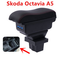 For Skoda Yeti Octavia A5 armrest box central Store content box storage case USB interface decoration accessories 2008 2010