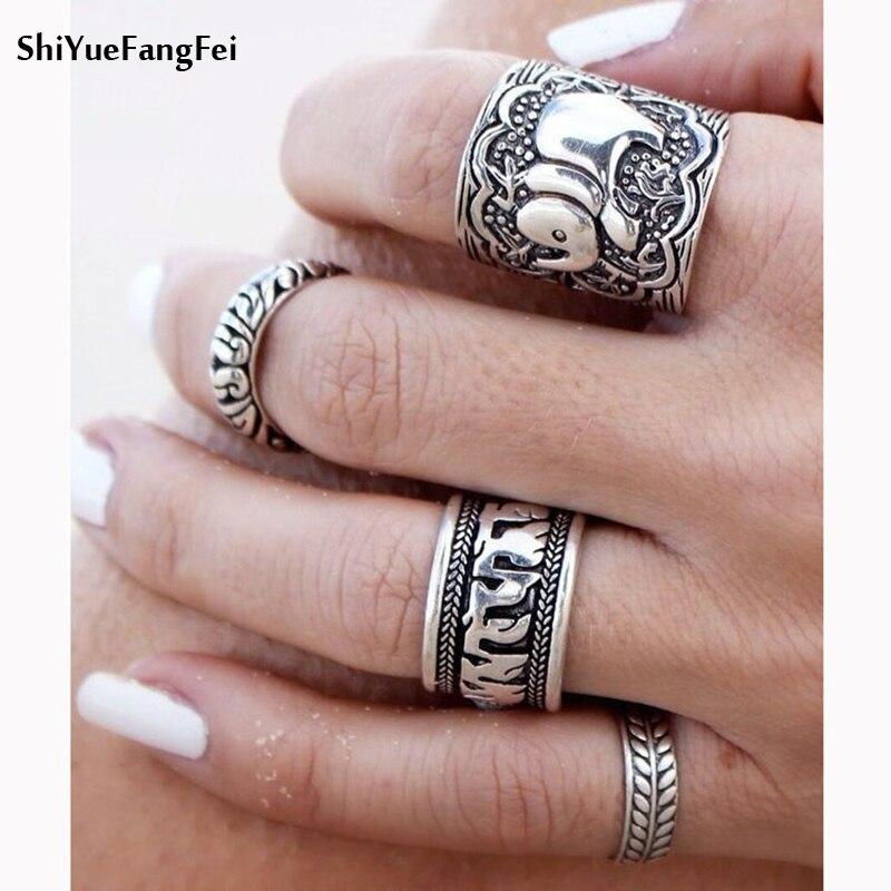 New Bohemia Vintage Jewelry Unique Carving Tibetan Silver Plated Ring Set For Woman 4PCS/Set Punk Boho Elephant  Ring Sets