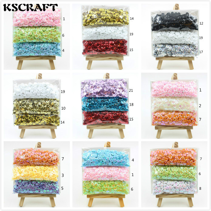 KSCRAFT 2200pcs/lot 6mm Mixed Colorful Sequins PVC Flat For DIY Card Making Craft Color Collection