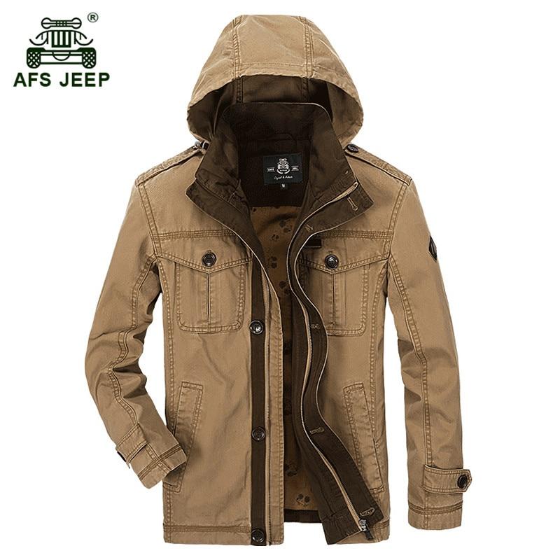 AFS JEEP 2017 uomo autunno di marca casuale puro cotone 100% kaki cappotto  primavera uomo ab4197c1fda