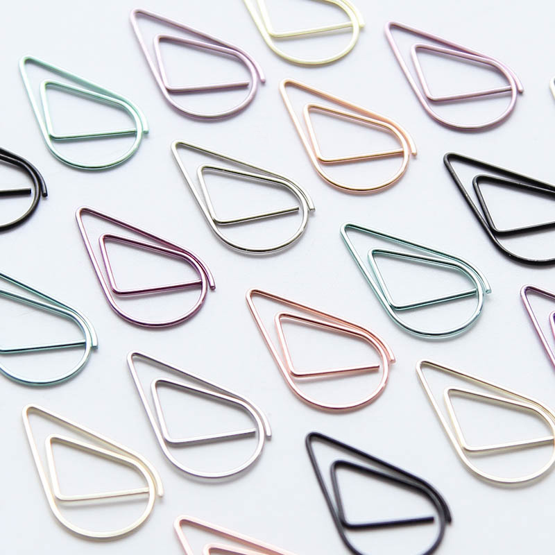10pcs/pack Cute Kawaii Korean Metal Paper Clip Gold Silver Black Green Color Bookmark Stationery Office Accessory School Supply