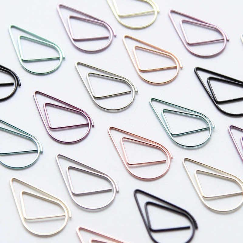 Paquete de 10 unidades de bonitos clips de papel de Metal Kawaii coreanos, marcapáginas de Color dorado, plateado, negro y verde, papelería Accesorio de oficina material escolar