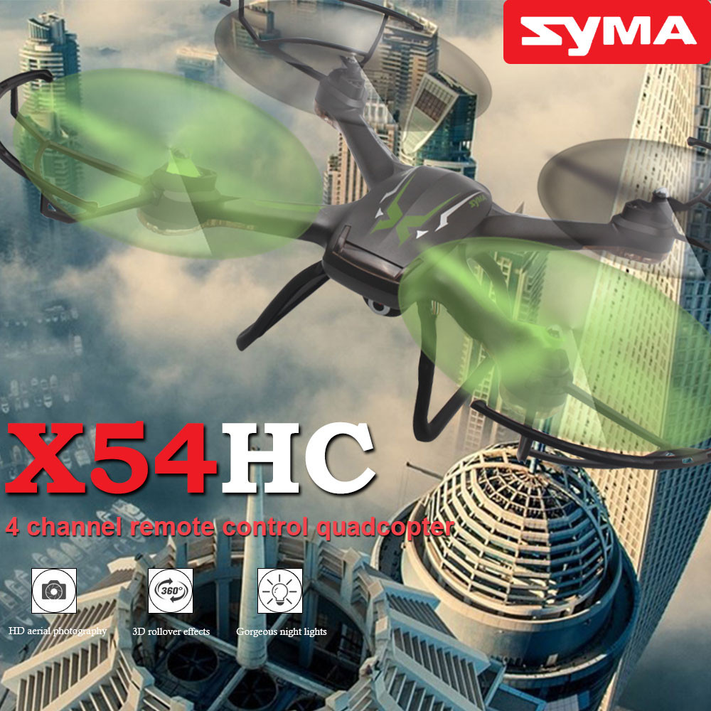 Original SYMA X54HC Quadcopter Drone with HD Camera 2.4G 4CH 6-Axis Remote Control RC Helicopters Hover 3D Flip Aircraft Model professional syma x5uc 4ch quadrocopter rc drone 2 4g remote control drone with hd camera rc helicopter with original box