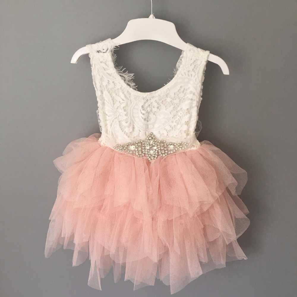 31c9e4373 sweet toddler girls birthday lace cake dress children princess rhinestone  sashes tutu party gown flower girls