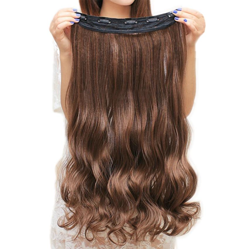 Soowee 60 cm Lunghi Capelli Sintetici Clip In Hair Extension Termoresistente Parrucchino Ondulato Naturale Dei Capelli Pezzo