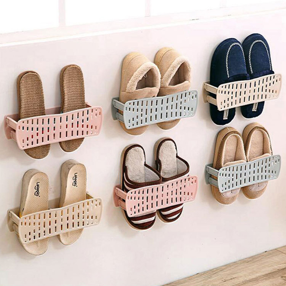 2017 excellent shoes Storage Holder Home Plastic Wall Hanging Hanger Slippers Shelf Storage Organizer #A1020 B