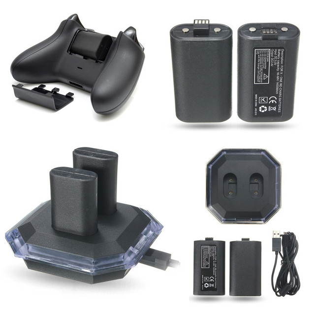 New Dual USB Charging Charge Dock Station Gamepad Charger + 2 Pieces Rechargeable Battery For XBOX ONE Controller Charge Kit