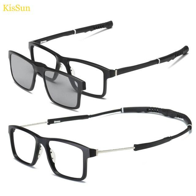 95e97215b6 Sport Sunglasses Magnetic Clip on Sunglasses Men Polarized Glasses Driver  Night Vision Glasses Frame with Black Gray Yellow Lens