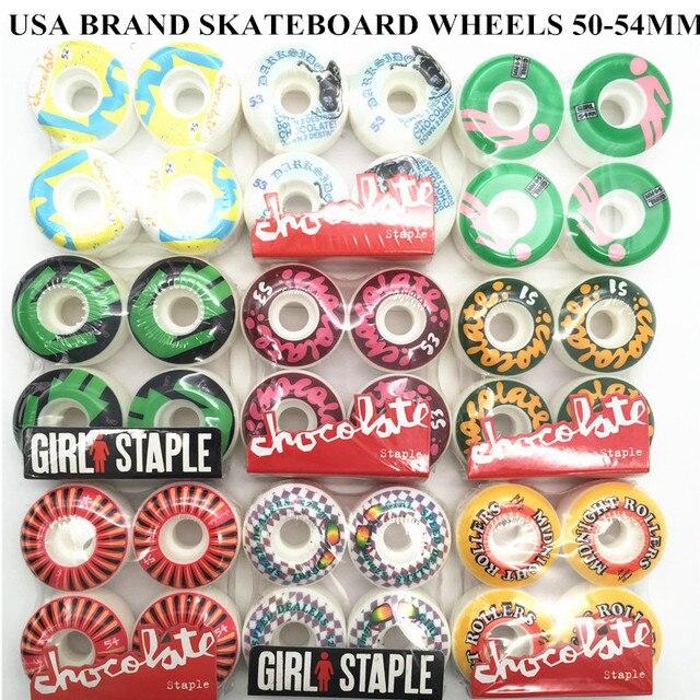 Usa di Marca Pro Skateboard Ruote Pu 50 55 Millimetri di Skateboard Ruote Rodas Doppio Rocker Skate Board Ruote