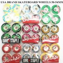 미국 브랜드 프로 스케이트 보드 바퀴 pu 50 55mm 스케이트 보드 바퀴 rodas 더블 로커 스케이트 보드 바퀴
