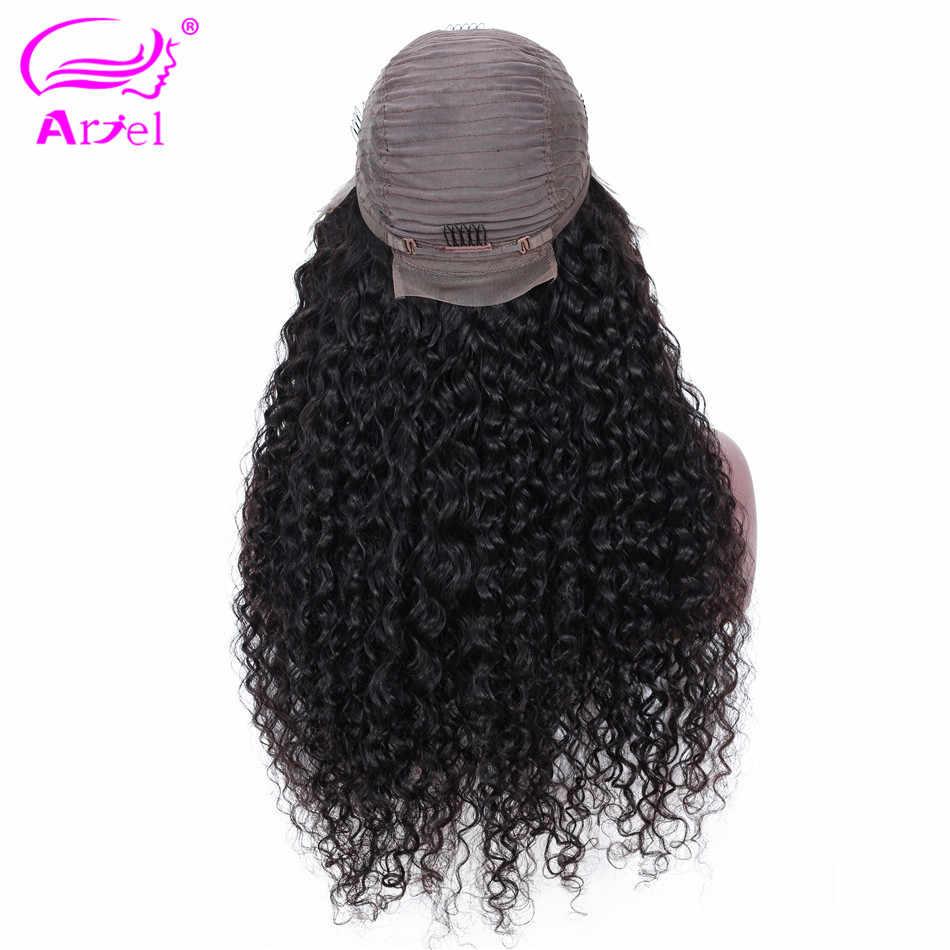 Кудрявые человеческие волосы парик фронта шнурка человеческих волос парики для черных женщин монгольские нереми 13 × 4 бесклеевой парик на сеточке закрытие парик их натуральных волос