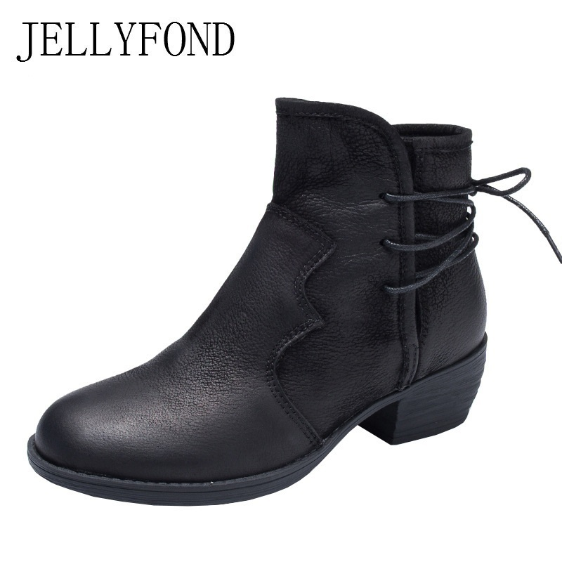 Genuine Leather Women Ankle Boots Handmade Autumn Shoes Woman 2018 Winter Calfskin Platform High Heels Martin Chelsea Boots jellyfond designer autumn winter shoes woman 2018 handmade genuine leather big bow platform high heels ankle boots chelsea boots