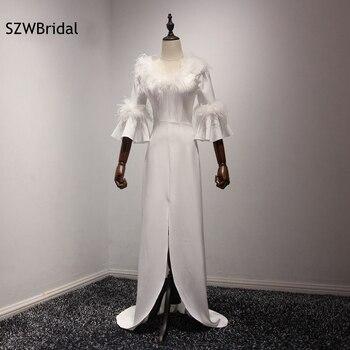 New Arrival V Neck White Evening gowns 2020 Three quarter vestido de festa Long evening dress Plus size vestido longo