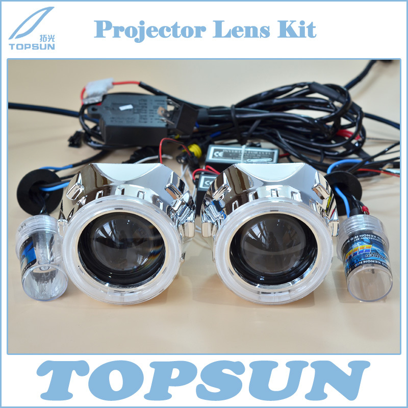Car Light Kit 2.5 inch WST Projector Lens, Cover, 35W H1 HID Xenon Bulb, CCFL Angel Eyes, High/ Low Beam Control Wire
