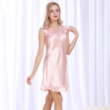 Propcm Lace Sexy Solid V-neck Plus size 4XL Lady Sleepwear Nightgown Sleepshirts