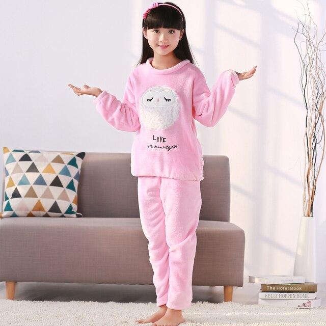 f69a88d2a443 Новые пижамы для девочек тёплая пижама на осень-зиму коралловый флис пижамы  с рисунками для