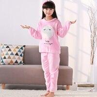 New Girls Pajamas Warm Thicken Autumn Winter Flannel Pijamas Mujer Children coral fleece cartoon Pajamas for Kids pijamas Sleepwear & Robes