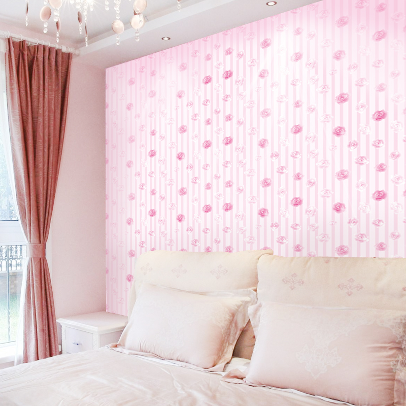 3D Wallpaper Modern Pink Rose Flowers PVC Self Adhesive Waterproof Wall Sticker Girls Bedroom Background Wall Covering 3D Decor
