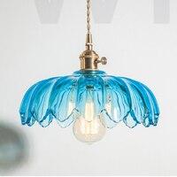Nordic vintage crystal color pressed glass pumpkin pendant light home dinning room hotel restaurant light brass suspension lamp