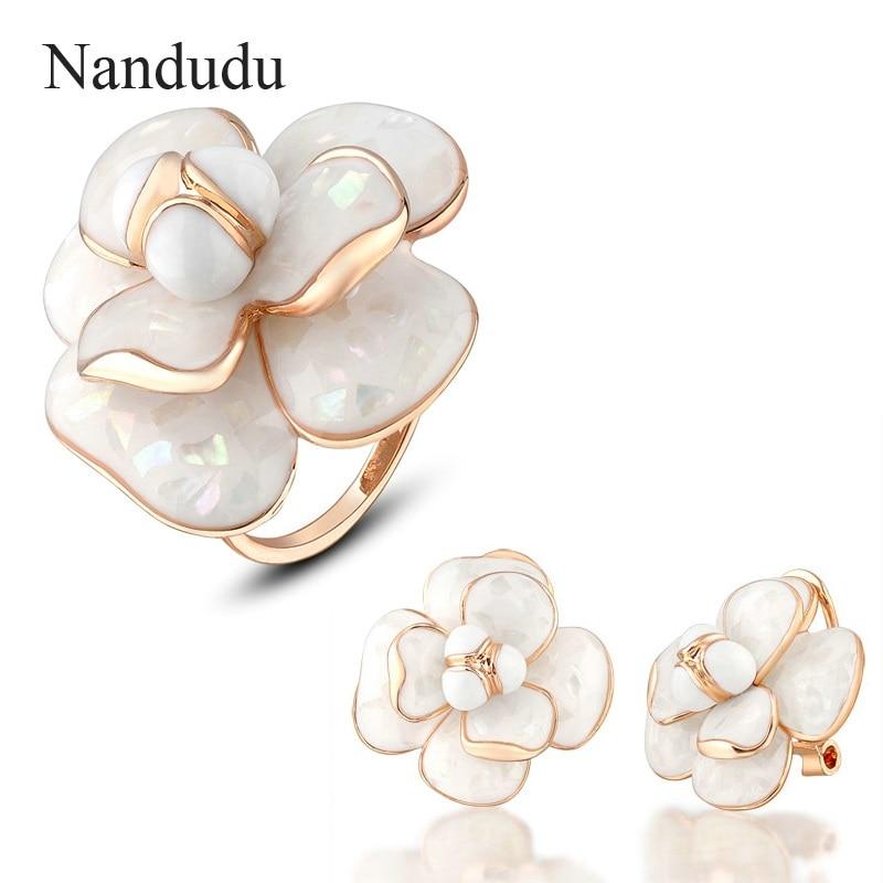 Nandudu Blooming Enamel Flower Ring Earrings Jewelry Sets Rose Gold Color Metal Women Female Ring Earring Jewelry Gift R681 E36