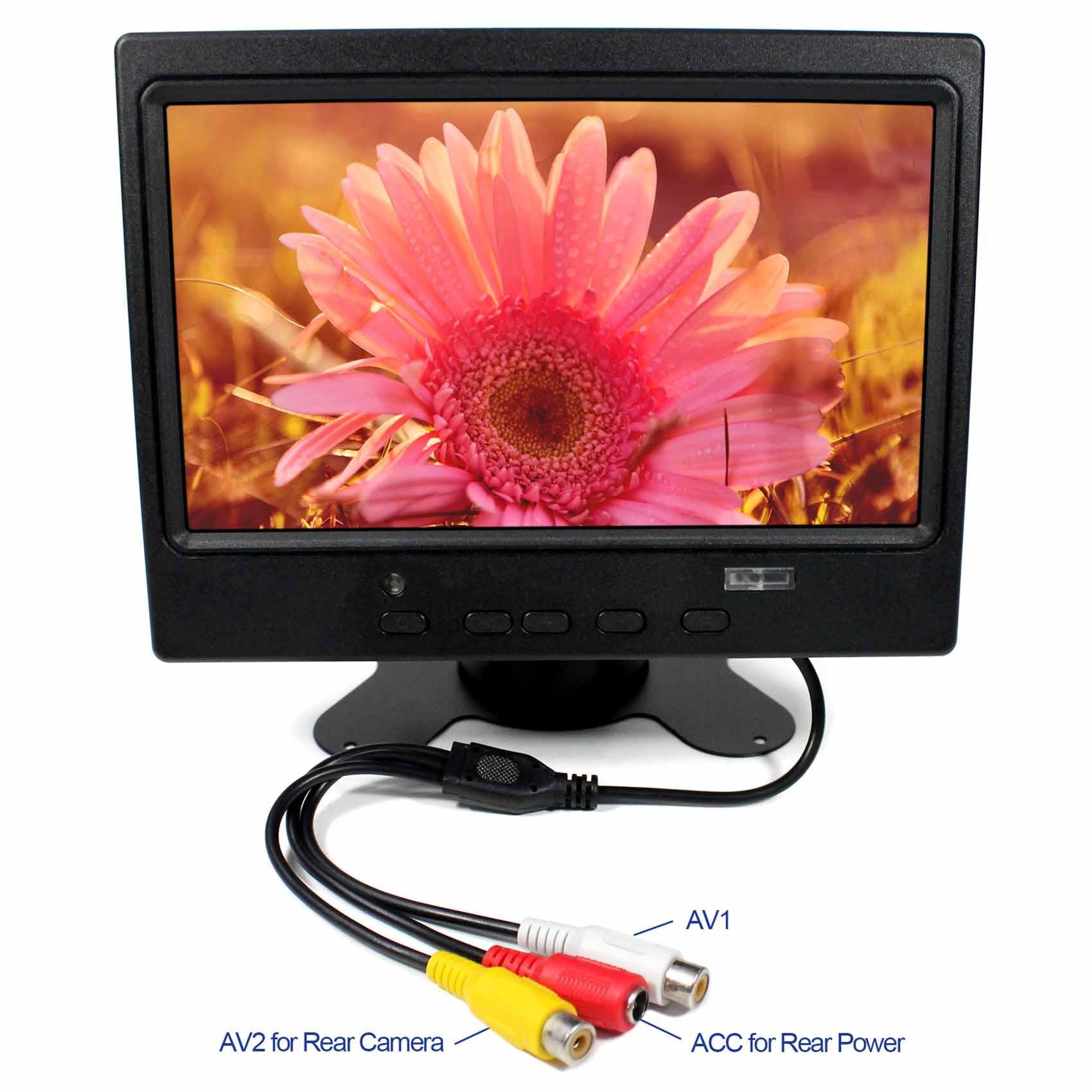 7 colių 800x480 LCD monitorius HDMI + VGA + 2AV atbulinės eigos su JAV maitinimo adapteriu