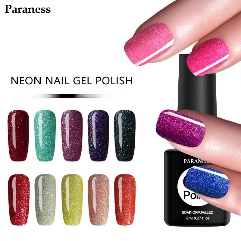 Paraness UV Gel Nail Varnish Lucky Color Gel Shiny Neon Rainbow ...