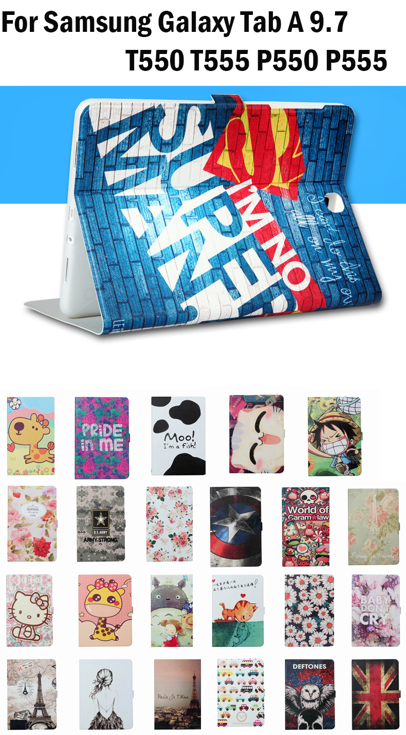 High Quality PU Leather Smart Case for Samsung Galaxy Tab A 9.7 T550 T555 P550 P555 Tablet protector Cover with wake/sleep+Gifts